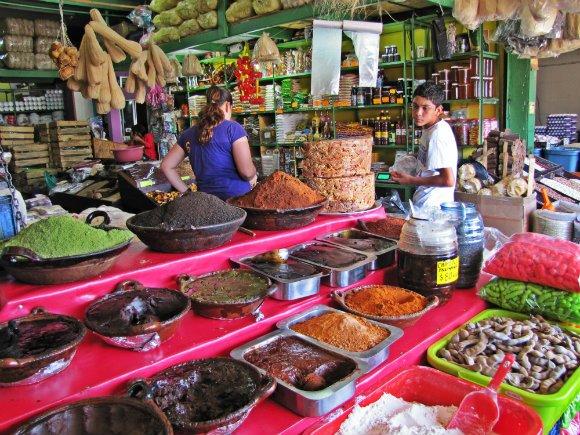Mole sauces, Mercado Hidalgo, Tijuana, Mexico