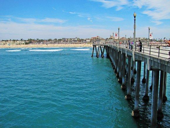 Huntington Pier, City seen from pier, pier pillars