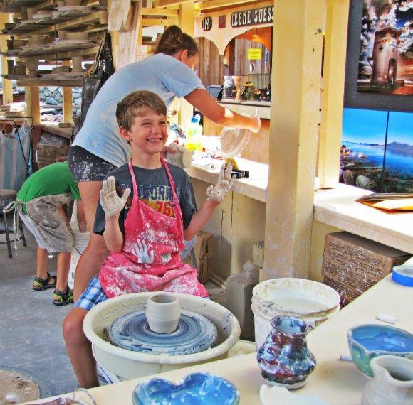Kids taking ceramic classes, Sawdust Art Festival, Laguna Beach, California