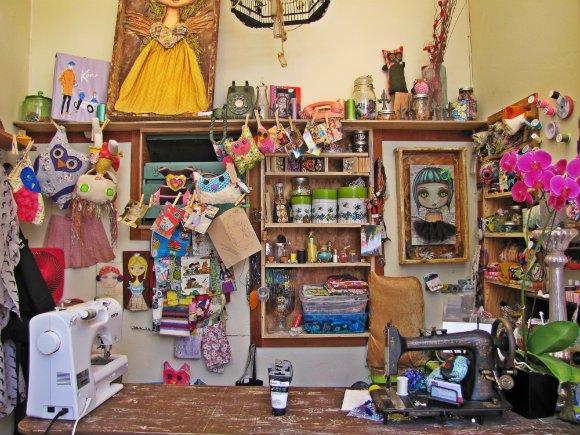 Sewing machines, owls and monsters, Sawdust Art Festival, Laguna Beach, California