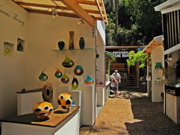 Vases on display, Sawdust Art Festival, Laguna Beach, California