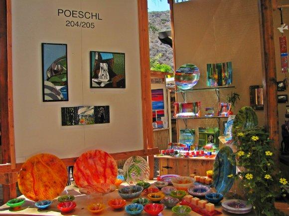 Glass art on display, Sawdust Art Festival, Laguna Beach, California