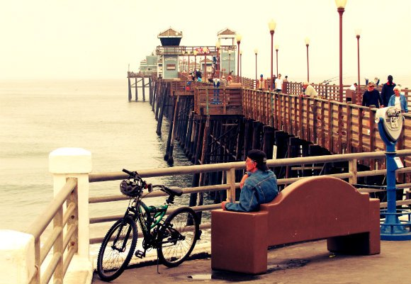oceanside pier, ruby's dinner, ruby's dinner on pier, fishing pier, pier and bycicle