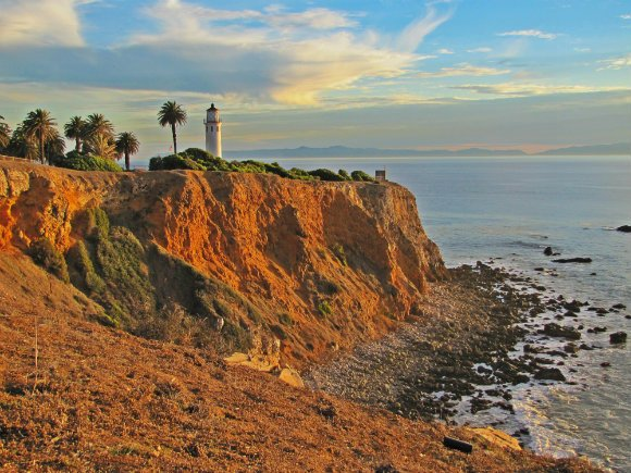 Point Vicente Lighthouse getting the last rays of the day, Palos Verdes Peninsula, Los Angeles, California