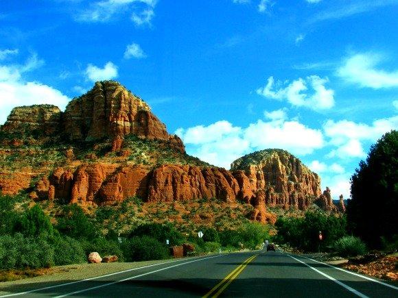Driving on Chapel Road, Sedona, Arizona