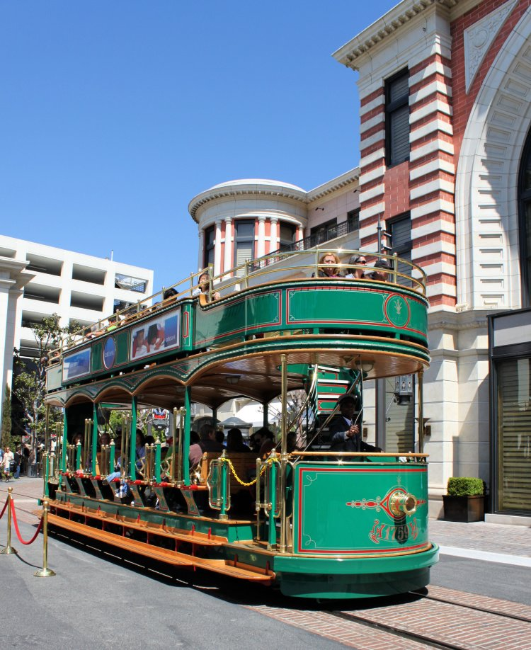 Green trolley at The Grove, Los Angeles