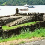 One of the forts in Portobelo with the bay behind it