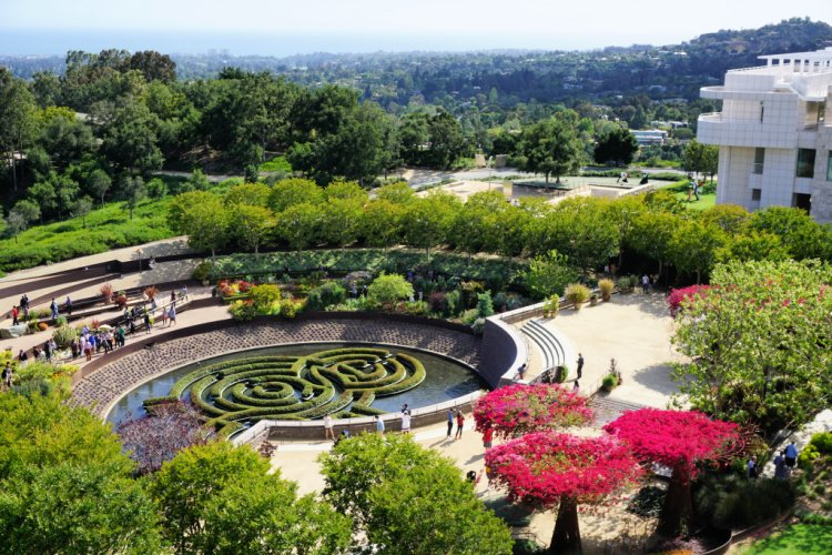 View of the main garden, The Getty Center, Los Angeles