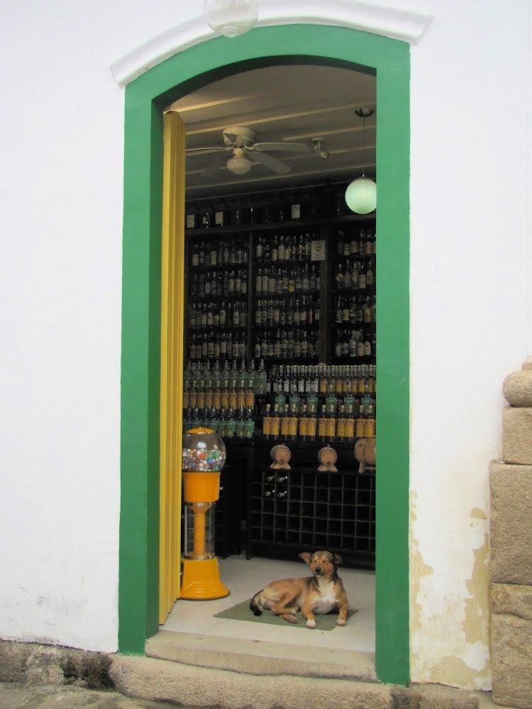 Green-frammed door in Paraty, Rio de Janeiro (Brazil)