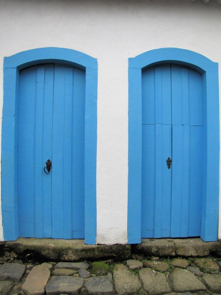 Two blue doors in Paraty, Rio de Janeiro (Brazil)