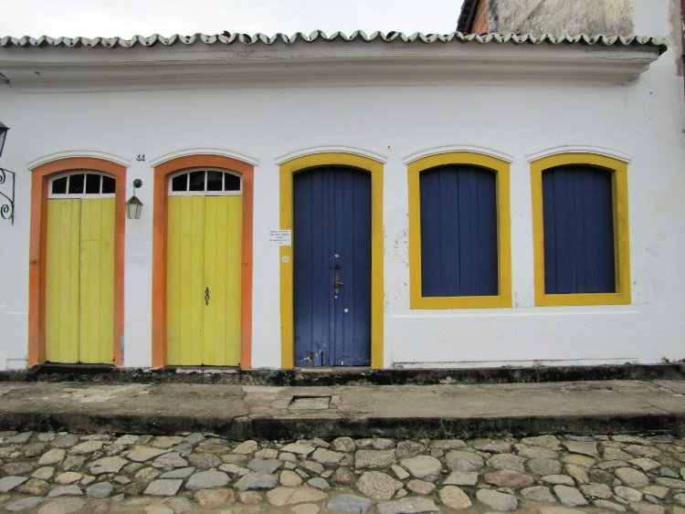 Blue and yellow doors in Paraty, Rio de Janeiro (Brazil)