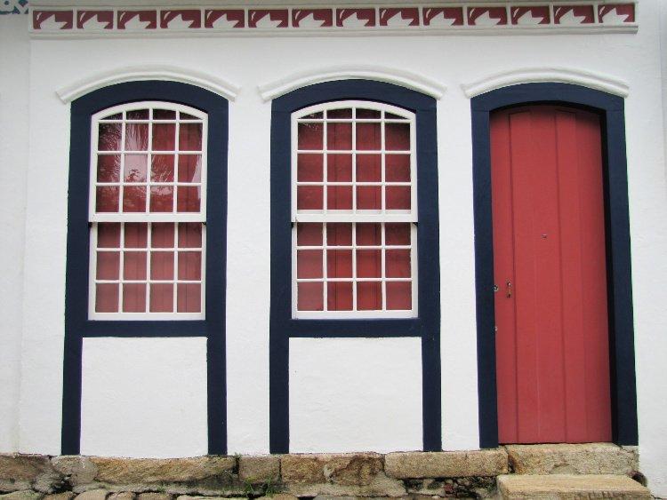 Red door (and two doors) in Paraty, Rio de Janeiro (Brazil)