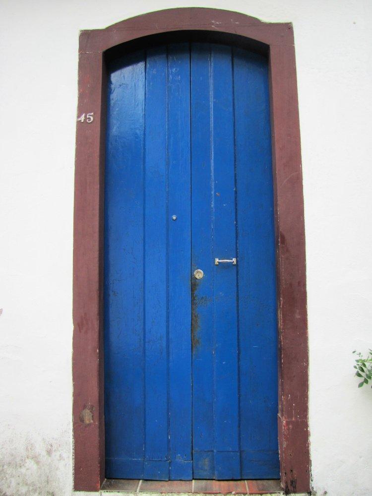 Blue and brown door in Paraty, Rio de Janeiro (Brazil)