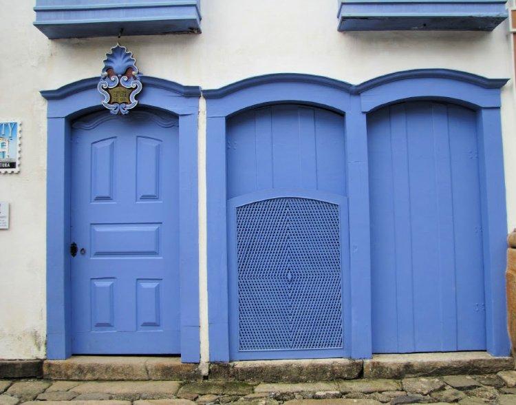 Three blue doors in Paraty, Rio de Janeiro (Brazil)