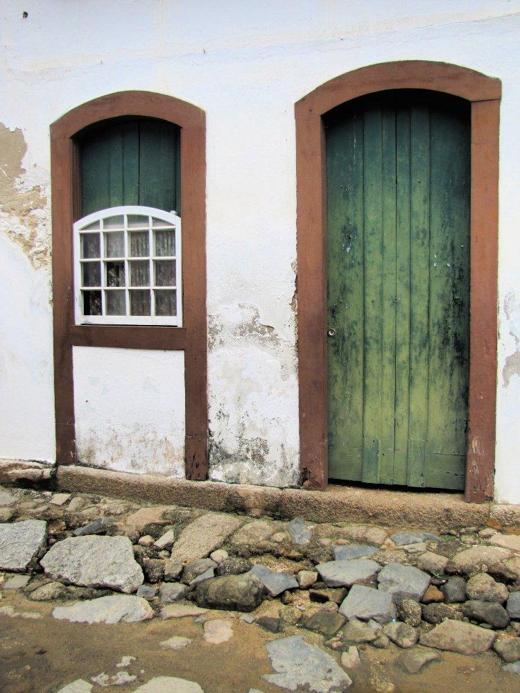 Green and brown door in Paraty, Rio de Janeiro (Brazil)