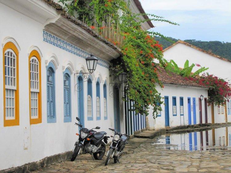 Motorcycles at colonial center of Paraty, Rio de Janeiro