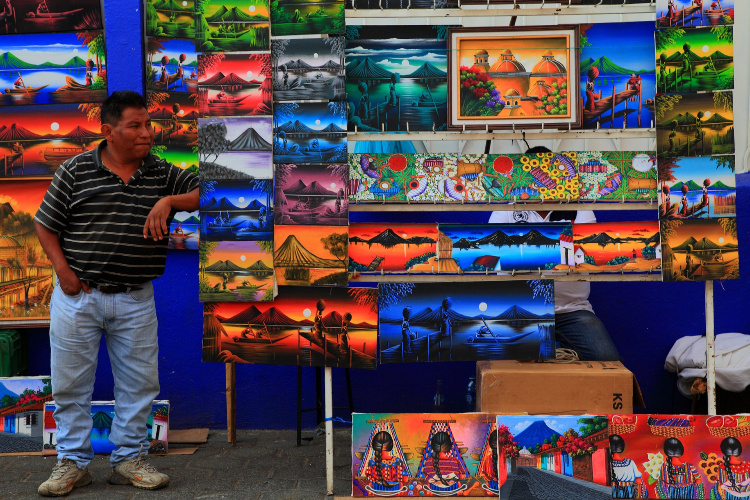 Selling paints in Guatemala
