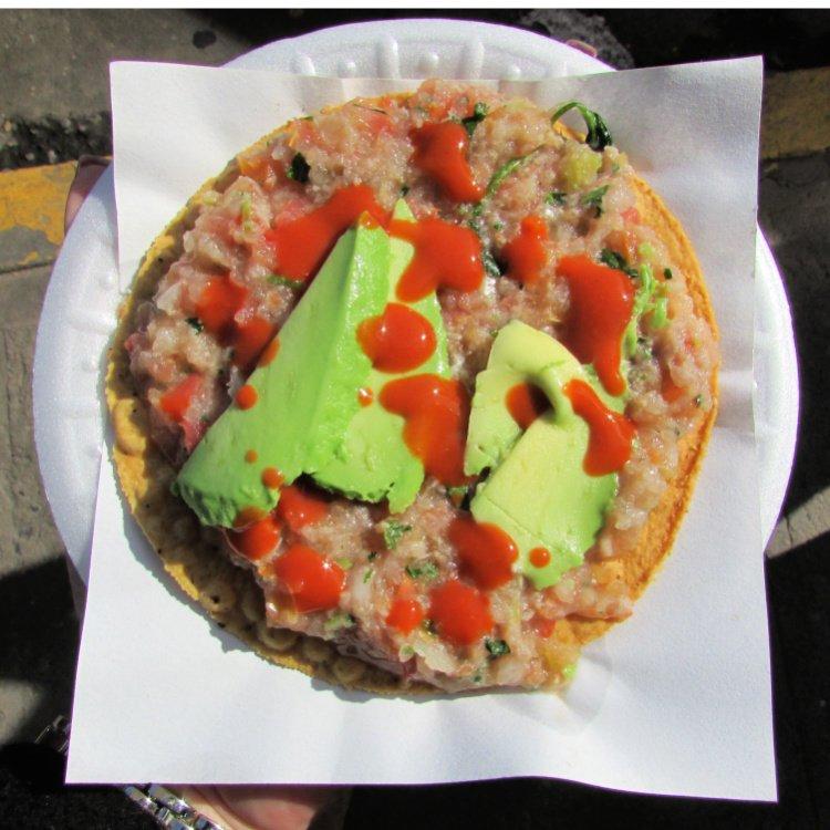 Fish ceviche tostada in ENsenada, Mexico