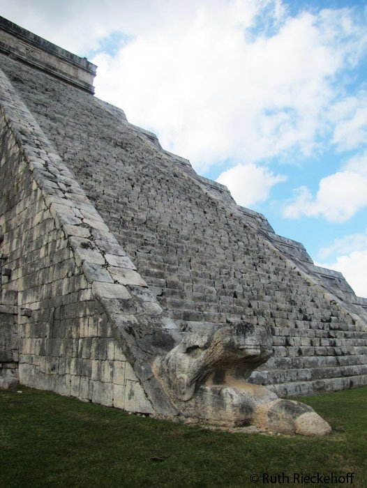 Feathered serpent at the bottom of El Castillo