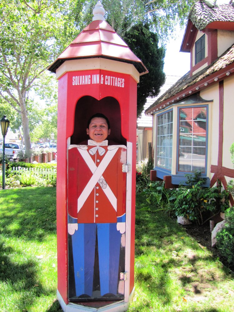 Pretending to be soldier at Solvang, California