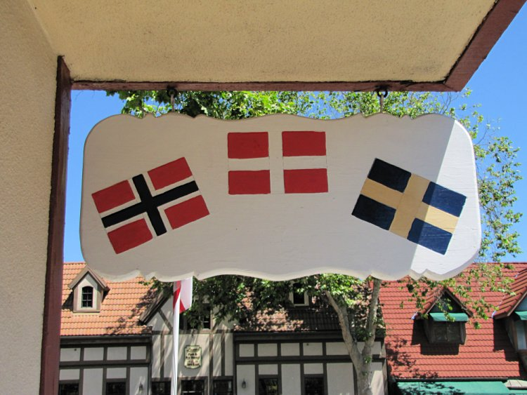 Scandinavian flags at a hotel in Solvang, California