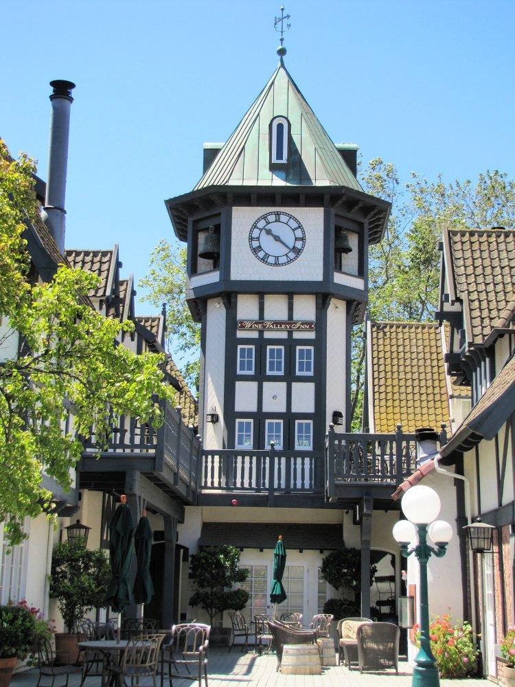 Half-timbered clock tower in Solvang, California