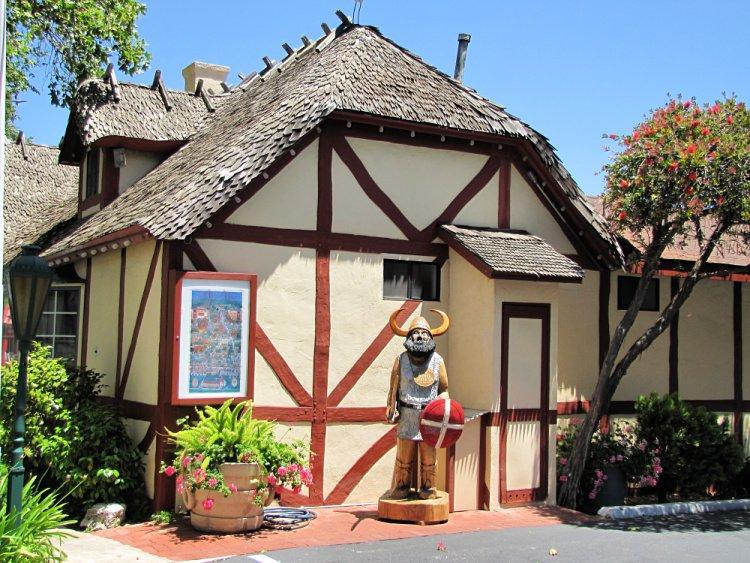 Half-timbered house and viking statue at Solvang, California