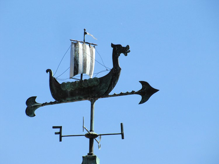 Viking ship vane at Solvang, California