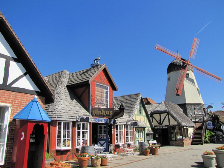 Danish architecture and a windmill at Alisal Road, Solvang, California