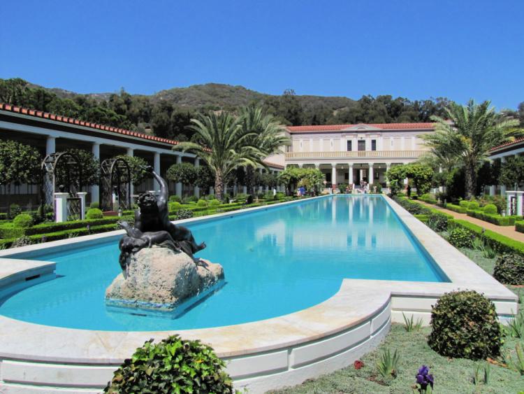 Front view of the villa, Getty Villa, Malibu, California