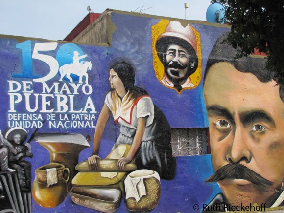 Mural conmemorating the 150 years of the Battle of Puebla, Puebla, Mexico