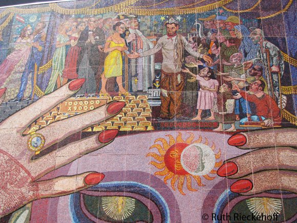 Mural at Insurgentes Theater, this details shows Cantinflas surrounded by the people.