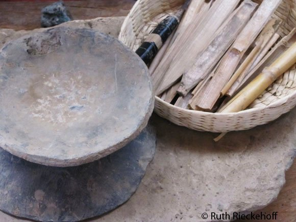 Plates used to shape the pottery, the wooden sticks are used to create shapes in the pottery surface once it is almost dry.