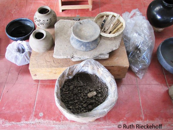 Materials used to create black clay pottery