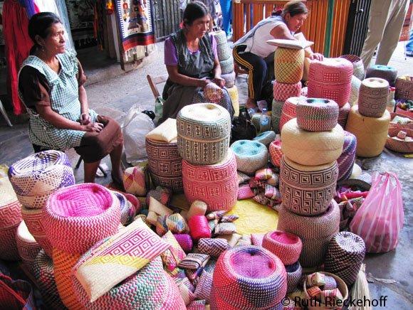 Baskets for sale at the Mercado Benito Juarez, Oaxaca, Mexico