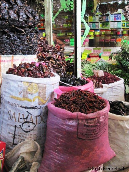 Dry chiles for sale in the Mercado Benito Juarez, Oaxaca, Mexico