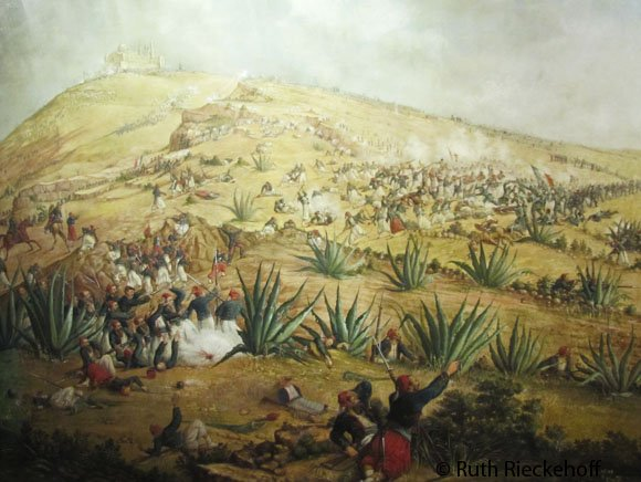 Recreation of the Battle of Puebla with the Guadalupe Fort in the top left corner