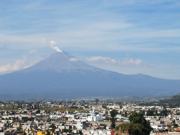 Popocatepetl seen from the top of the pyramid