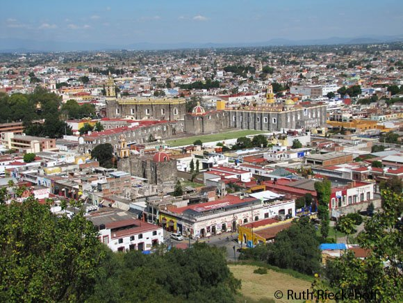 Cholula seen from the top if the pyramid