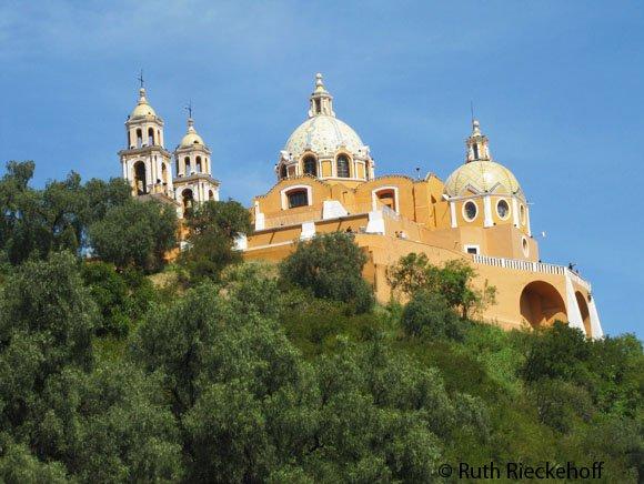 Nuestra Señora de los Remedios Church seen from below
