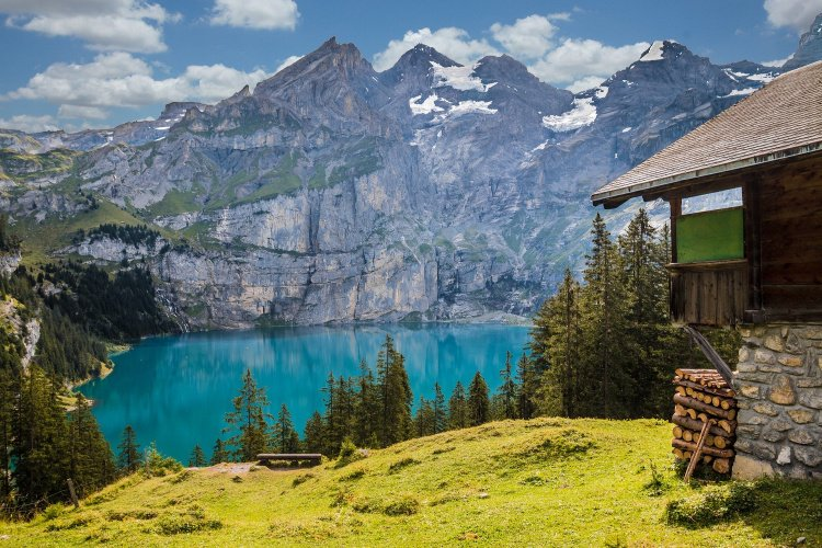 Mountains, blue lake and hut, Break the Routine and Add Adventure to your Life
