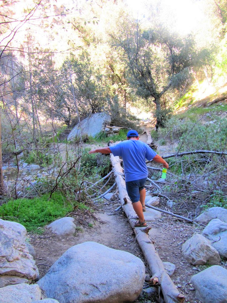 Crossing a creek in the Eaton Canyon Hike