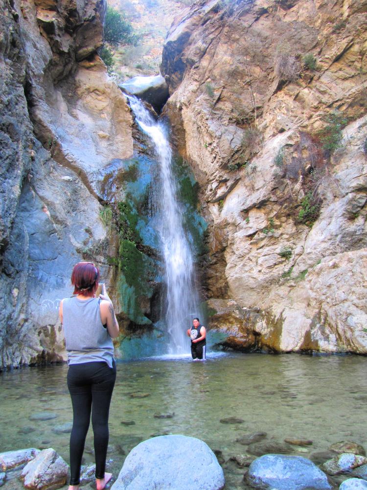 Taking photos at the base of Eaton Canyon Falls