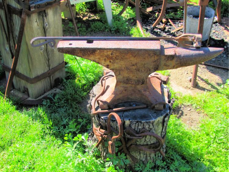 Anvil and other blacksmithing utensils, Mission San Juan Capistrano, California