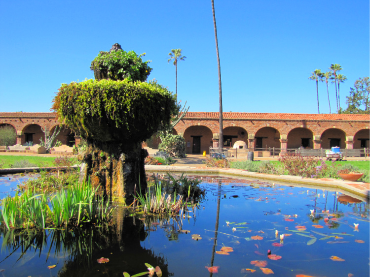Mission fountain and pond, San Juan Capistrano