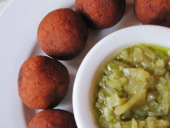Ghanaian yam balls, Little Ethiopia, Los Angeles, California