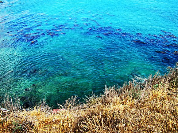 Caribbean like water in Palos Verdes peninsula cove, California