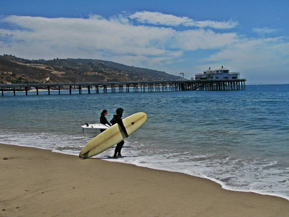 Surfers waiting for the waves, Surfrider Beach or Malibu Creek Satte Beach, Malibu, California