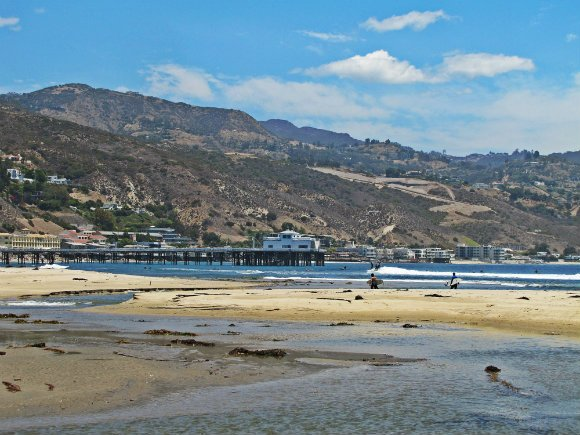View of Santa Monica Mountains and Malibu's Pier, Malibu, California