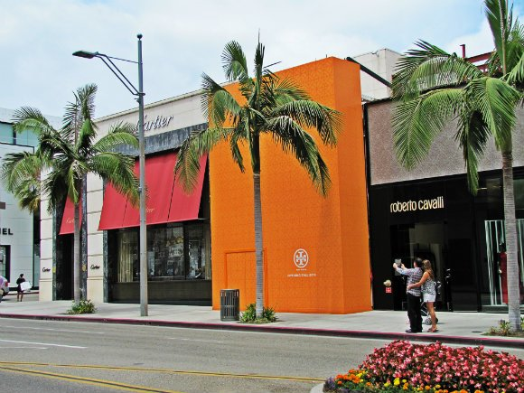 Roberto Cavalli, Tory Burch and Cartier Stores,  Rodeo Drive, Beverly Hills, California